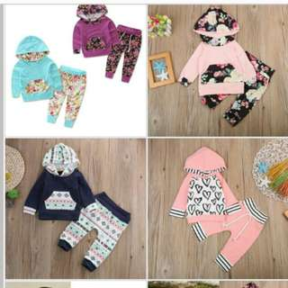 Hooded Jacket Set With Pants For Baby Ages O-6 Yo