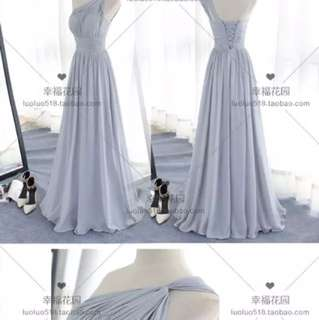 Maxi Dress / Bridesmaid Dress - Grey