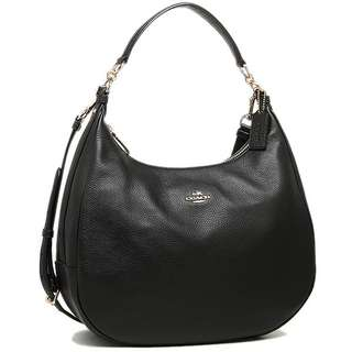 Coach hand bag Coach Harley Hobo In Pebble Leather Gold / Black # F38259