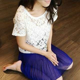 H&M lace top & saphire skirt korean (blue)