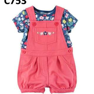 C753 Baby printed flower top set overall