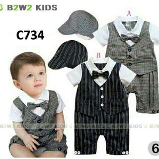 C734 B2W2 romper set hat