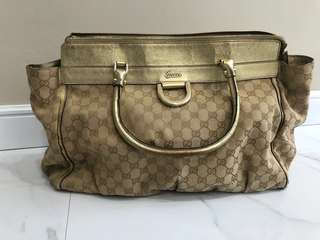 DROP PRICE - Authentic Gucci D ring canvas signature shoulder bag in gold