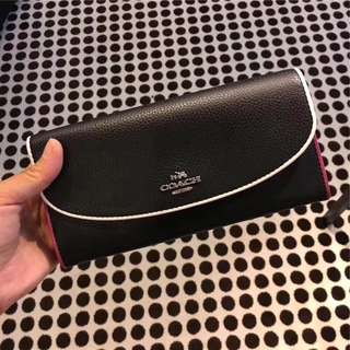 Coach Slim Envelope Wallet in polished Pebbled Leather