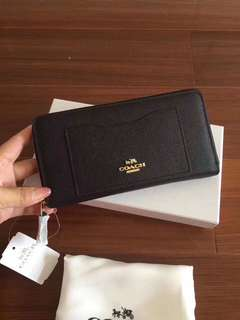 Coach leather geo colourblock long zip wallet