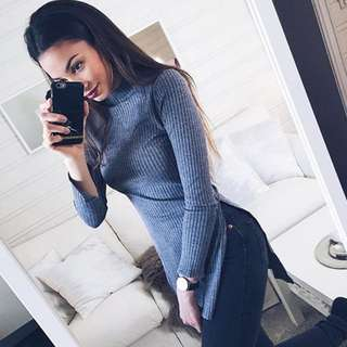 [PO] Knitted Slit Sweater