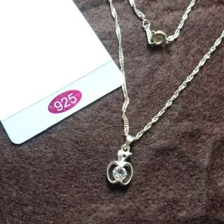 $16.90 free mail 925 silver necklace with apple Rhinestone pendant
