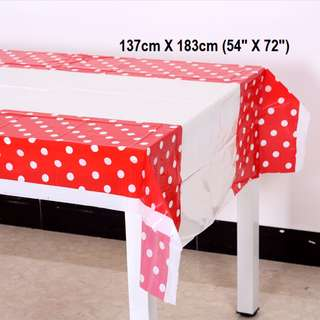 Party Tablecloth (Red Polka Dot)