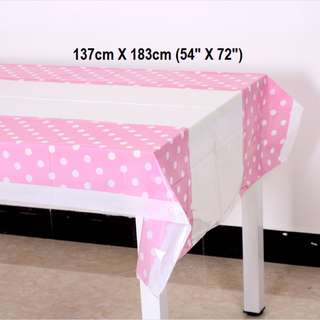 Party Tablecloth (Pink Polka Dot)