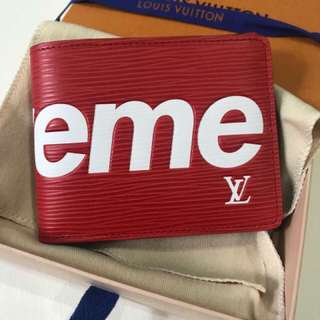authentic LV X Supreme Mens Wallet