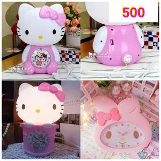 Hello kitty clock and with lamp