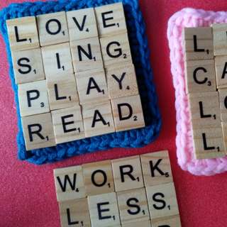 Scrabble Tiled Coaster with Crochet Base