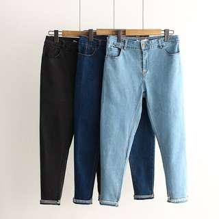 (XL~5XL) Korean version of high elastic solid color denim pencil pants wild pants