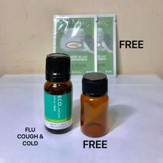 ECO. AROMA SINUS CLEAR BLEND.  Australian Oils Blend of pharmaceutical grade to aid the symptoms of Sinus, Cold and Flu. 100% PURE ESSENTIAL OIL. 10ML. Brand New. FREE : Loccitane