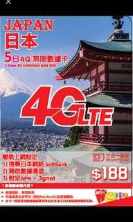 日本4G漫遊數據卡 100%New & Work