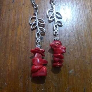 Red Coral gemstone chips keychain