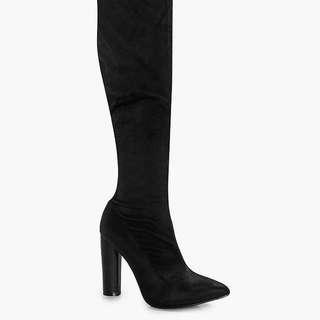 Aimee Satin Thigh High Boot | Boohoo