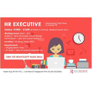 HR Executive ( Ad Hoc / Part-Time / Permanent)
