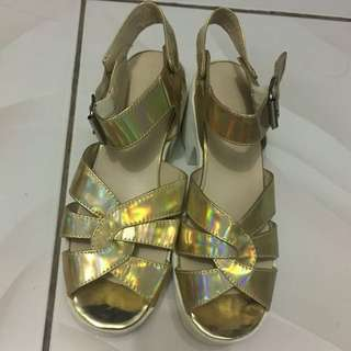 Zalora White and Gold Sandals
