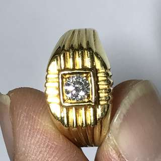 {Men's Jewelry - Diamond Ring} Beautiful & Classic 20K Solid Yellow Gold Genuine Diamond Ring