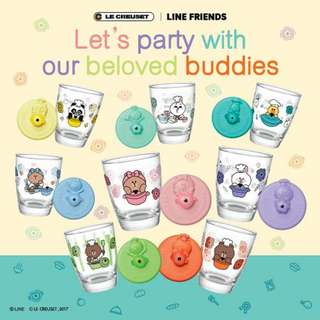 有25 個, $1.5/個 7-11 7-Eleven 7 仔 LINE FRIENDS LE CREUSET Calling all party buddies 好 friend 碰碰杯 印花