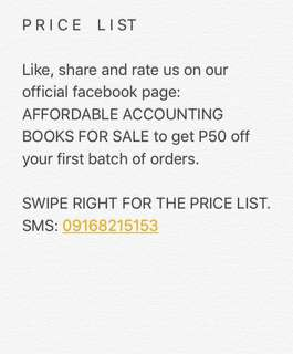 PRICE LIST FOR ACCOUNTING TEXTBOOKS & REVIEWERS