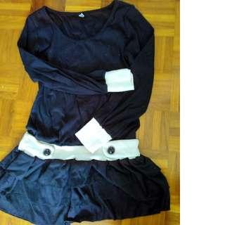 Short black long sleeve dress.