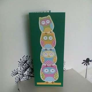 Stacking Owls Greeting Card - green (handmade)