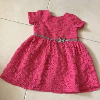 Preloved Carter's fuchsia pink lace dress