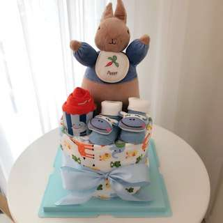 Baby Diaper Cake 1-Tier with U.K. Peter Rabbit for New Born / Full Month Baby