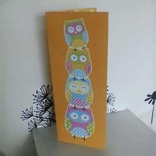 Stacking Owls Greeting Card - orange (handmade)