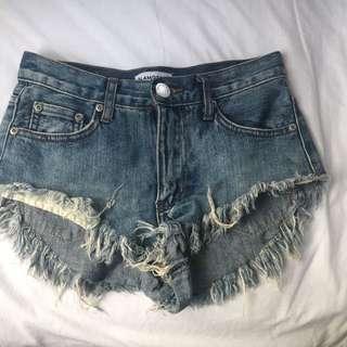 Denim shorts. GLAMOROUS