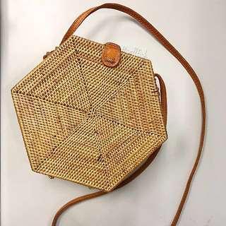 Bali Rattan Hexagon Basket Sling Bag
