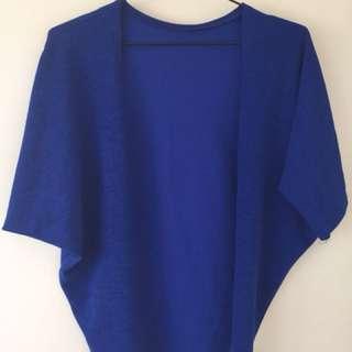 Blue Shortsleeves Cardigan