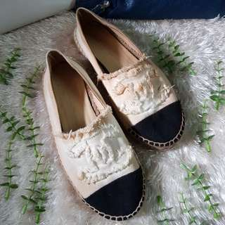 Authentic Chanel Two Toned Canvas/Leather Espadrilles Size 37