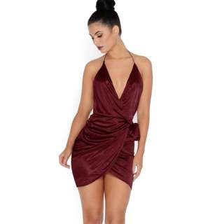 OhPolly Satin Wrap Dress in Red