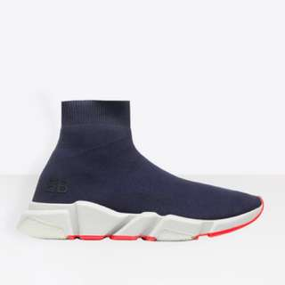 BALENCIAGA navy speed runners high top sneakers(100% authentic)(有單)