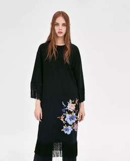European and American flowers heavy embroidery knit tassel decorative loose dress