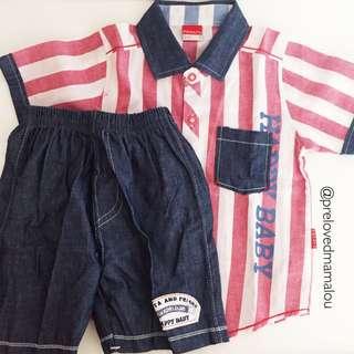 NEW! Boys set tops and bottom / stripe red boys shirt #MakinTebel