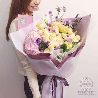 香檳金 x 淺紫👸 Queen Size 鮮花束