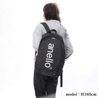 日本 Anello 黑色大LOGO 雙層 多功能 大容量背囊