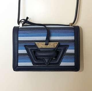 Loewe style Barcelona bag with multi blue strips