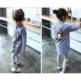 01150 Children Cartoon Printing Vertical Stripes Long Shirt