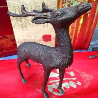 梅花鹿銅雕老件