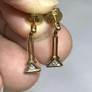 {Women's Jewelry - Diamond Earrings} Beautiful Vintage 18K Solid Gold Genuine Diamonds Earrings