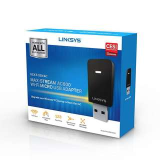 BNIB - Linksys Max-Stream AC600 Dual-Band MU-MIMO USB Adapter (WUSB6100M)