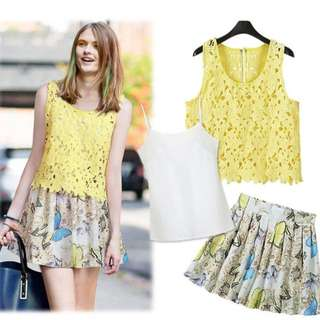 (7DDCD579) Sleeveless Lace Top and Fancy Butterfly SkirtSet