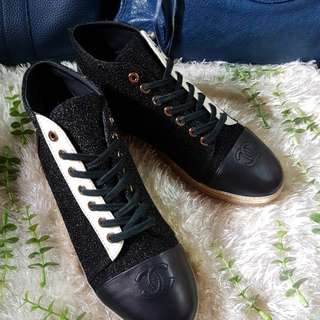 Authentic Chanel Tweed High Cut Ladies Sneakers Shoes Size 38