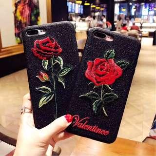 Sparkly Glittery Black Base Stalk of Red Rose Valentine Mobile Handphone Phone Case Casing Cover Apple IPhone 6/6S, 6/6S Plus, IPhone 7, 7 Plus, IPhone X, IPhone 8 & 8 Plus Oppo R9S, R9S Plus, R11 & R11 Plus (love bouquet ban.do asos kiss disney enchanted