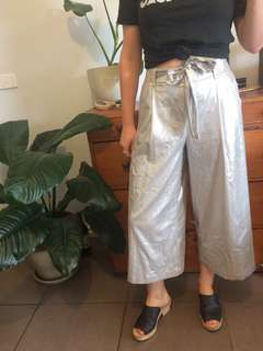 ZARA silver shiny wide leg pants